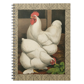 Roosters & Hen outside Hen House with White Border Spiral Notebook