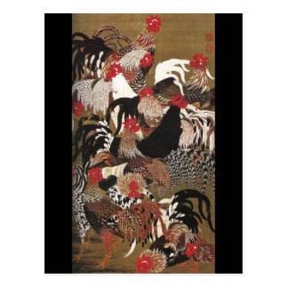 Roosters Jakuchu Japanese Fine Art Postcard