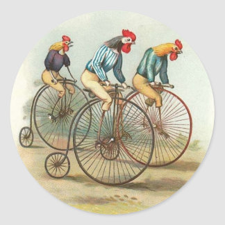 Roosters on Bicycles Stickers