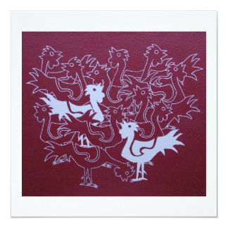 Roosters on hessian card 13 cm x 13 cm square invitation card