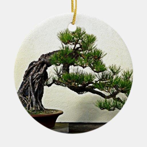 Root Over Rock Pine Bonsai Tree Christmas Ornaments