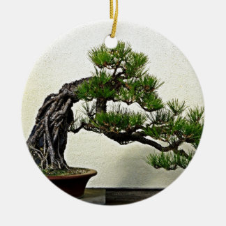 Root Over Rock Pine Bonsai Tree Round Ceramic Decoration
