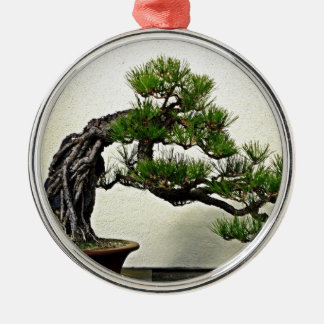 Root Over Rock Pine Bonsai Tree Silver-Colored Round Decoration