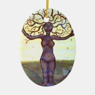 """Rooted"" Tree Goddess Art Christmas Ornament"