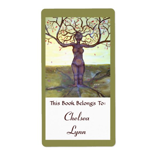 """""""Rooted"""" Tree Goddess Book Label Shipping Label"""