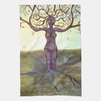 """Rooted"" Tree Goddess Fantasy Art Tea Towel"