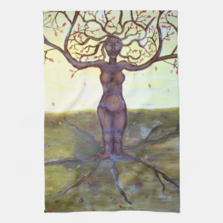 """Rooted"" Tree Goddess Fantasy Art Tea Towels"