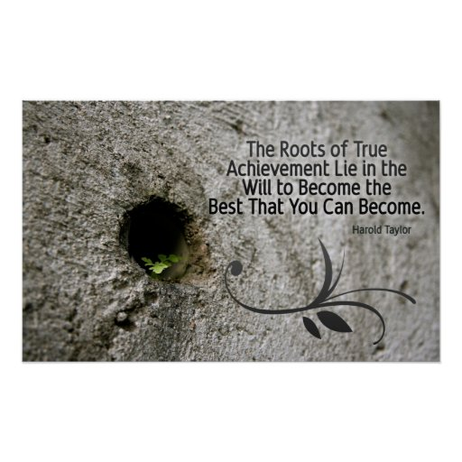 Roots of Achievement Inspirational Poster Print
