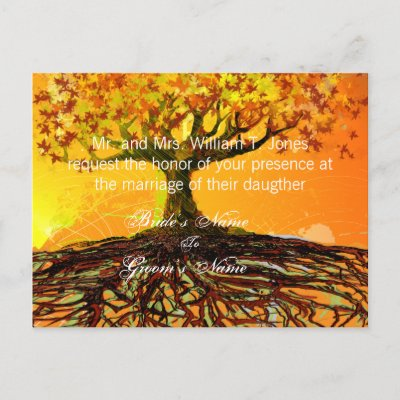 Roots of Love Wedding Invitations Original Art Postcard by samack