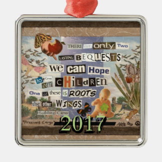 Roots & Wings Custom Year Silver-Colored Square Decoration