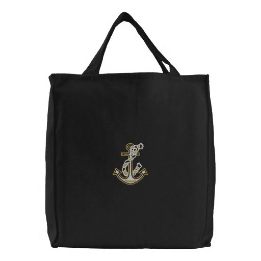 Rope Anchor Nautical Embroidered Tote Bags