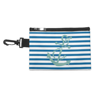 Rope and Anchor Blue and White Horizontal Stripe Accessory Bags