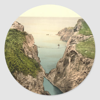 Rope Bridge Carrick-a-Rede County Antrim Round Stickers