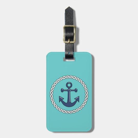 Rope n Anchor Aqua Personalised Luggage Tag