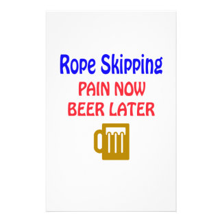 Rope Skipping pain now beer later Stationery Design