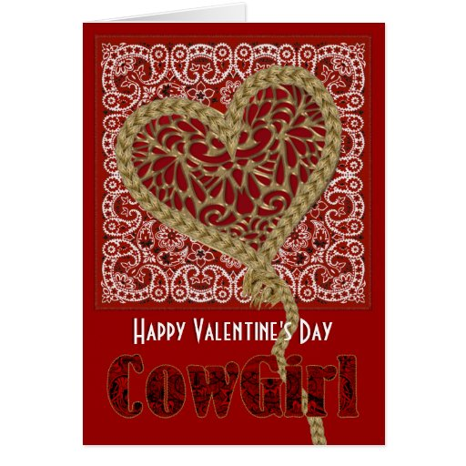 Roped My Heart Cowgirl Valentine Card