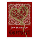 Roped My Heart Cowgirl Valentine Greeting Card