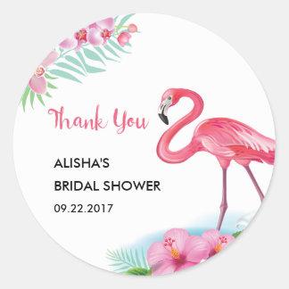 ropical Flamingo Luau Bridal Shower Sticker