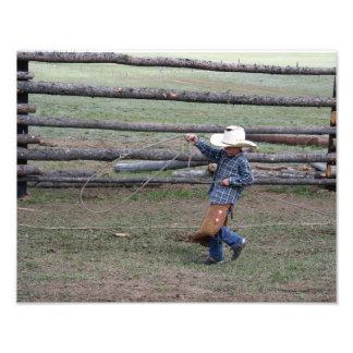 Ropin' Young Cowboy Photo Print