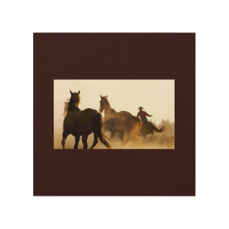 roping cowboy wallart wood print