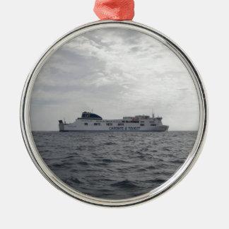 RoRo Passenger Ferry Cartour Gamma Silver-Colored Round Decoration