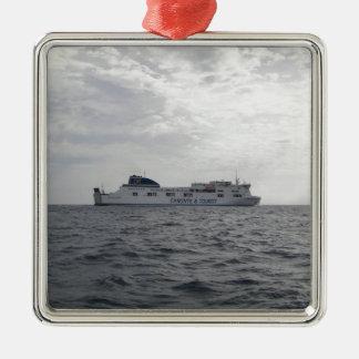 RoRo Passenger Ferry Cartour Gamma Silver-Colored Square Decoration