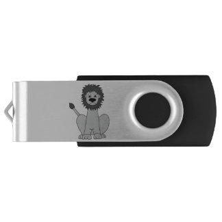 """Rory"" the lion (black and white) Swivel USB 3.0 Flash Drive"