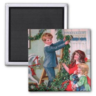 Rosa C. Petherick: Christmas Decorations Square Magnet