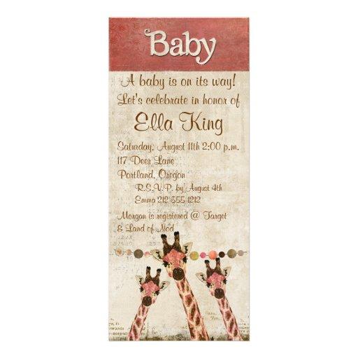 Rosa & Copper  Giraffes Baby Invitation