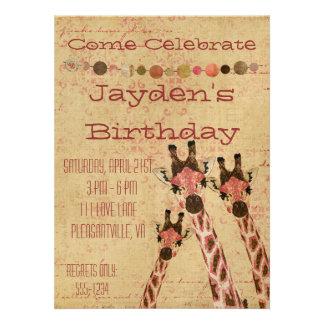 Rosa & Copper Giraffes  Birthday Invitation