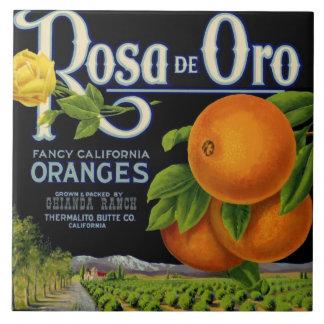 Rosa de Oro Orange Crate Label Large Square Tile