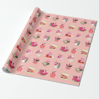 Rosa food wink collage wrapping paper