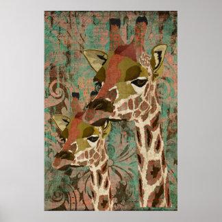 Rosa Giraffes Damask Art Poster