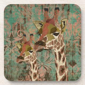 Rosa Giraffes Damask Coaster