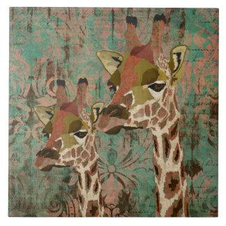 Rosa Giraffes Damask Tile
