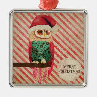 Rosa Owl Candy Cane Christmas  Ornament