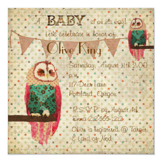 "Rosa Owl Polkadot Baby Shower Invitation 5.25"" Square Invitation Card"