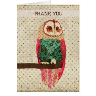 Rosa Owl Thank You  Card