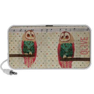 Rosa Owls Polkadot Doodle Speaker