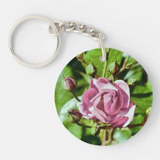 Rosa Rose, Nature Double-Sided Round Acrylic Key Ring