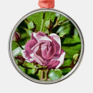 Rosa Rose, Nature Silver-Colored Round Decoration