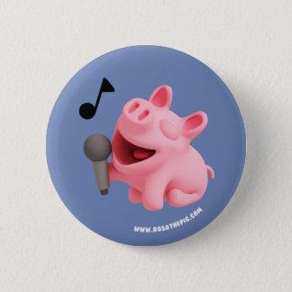 Rosa the Pig does Karaoke 6 Cm Round Badge