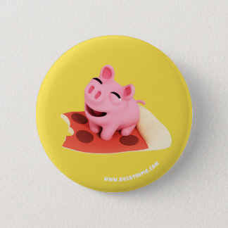 Rosa the Pig Love pizza 6 Cm Round Badge