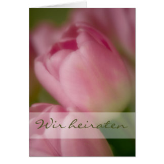 Rosa Tulpen • Hochzeitseinladung Greeting Card