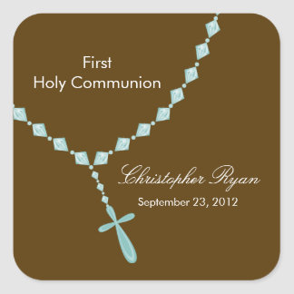 Rosary Beads First Holy Communion Blue Brown Square Sticker