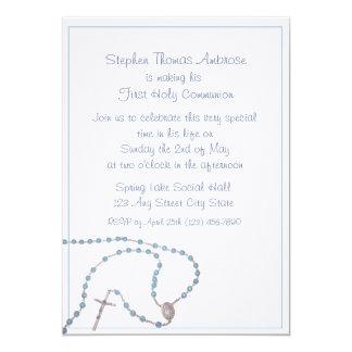 Rosary Blue/ Communion 13 Cm X 18 Cm Invitation Card