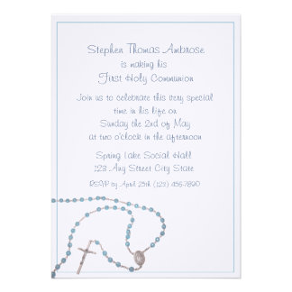 Rosary Blue Communion Personalized Announcements