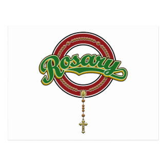 Rosary Circle Script Logo Green on Red Post Cards