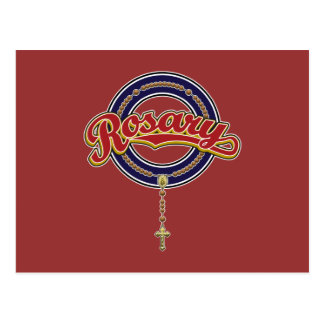 Rosary Circle Script Logo Red on Blue Post Card