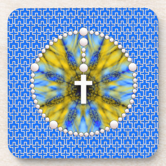 Rosary Dream Catcher Blue & Yellow Beverage Coasters